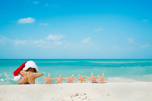 縁なし帽子「クリスマスバケーションにお勧めのスターフィッシュ家族でカリブ海のビーチ」:スマホ壁紙(4)