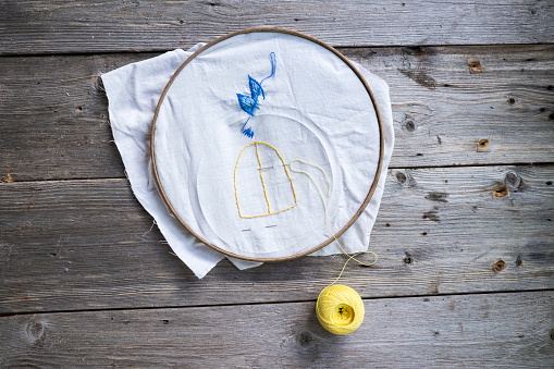 Embroidery「Ball of yellow thread with needlepoint hoop」:スマホ壁紙(2)