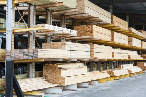 Storage shelves in lumberyard:スマホ壁紙(壁紙.com)