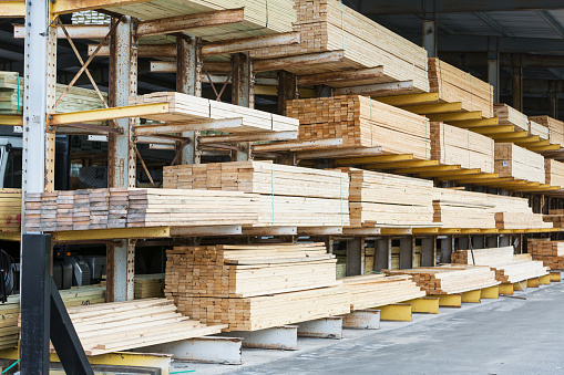 Lumber Industry「Storage shelves in lumberyard」:スマホ壁紙(14)