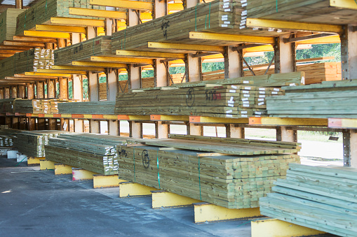 Lumber Industry「Storage shelves in lumberyard」:スマホ壁紙(4)