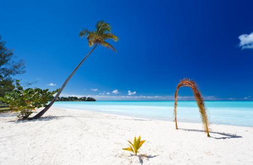 リーワード諸島 アンティグア「ビーチでヤシの葉のアーチ」:スマホ壁紙(11)