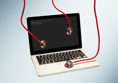 Gray Background「Failed laptop with stethoscopes attached.」:スマホ壁紙(3)