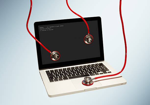 Failed laptop with stethoscopes attached.:スマホ壁紙(壁紙.com)