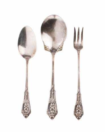 Spoon「Antique silver spoons and fork on white background」:スマホ壁紙(16)