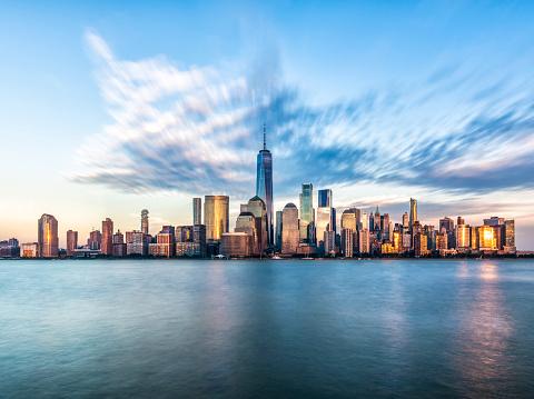 島「ダウンタウン マンハッタン ニューヨーク ニュージャージー州ゴールデン時間日没」:スマホ壁紙(17)