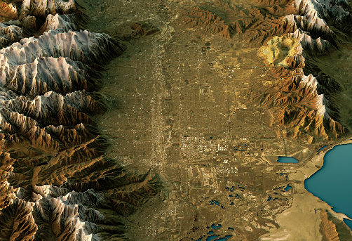 Utah「Salt Lake City 3D Landscape View North-South Natural Color」:スマホ壁紙(12)
