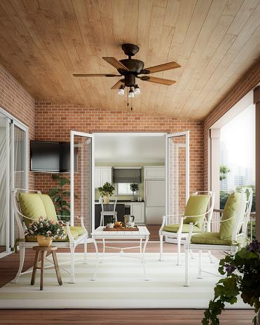 Ceiling Fan「Modern Balcony Garden」:スマホ壁紙(1)