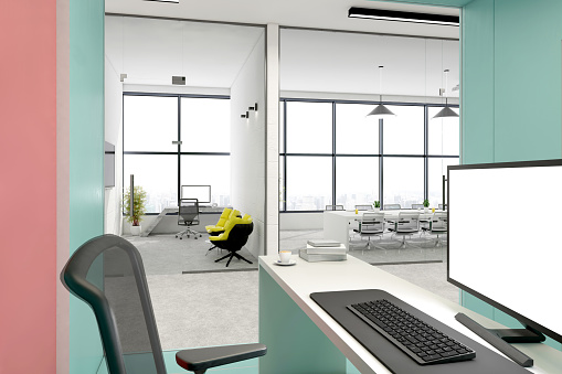 Template「office desk with blank computer monitor in open plan office interior」:スマホ壁紙(8)