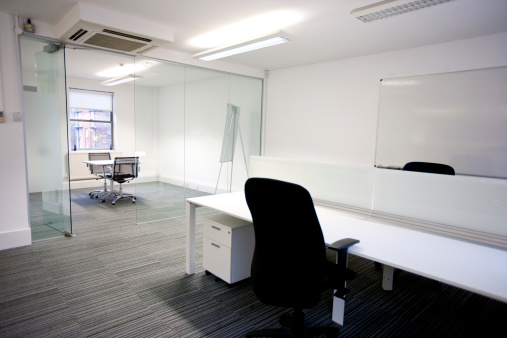 Office「Office desk with meeting room in background」:スマホ壁紙(7)