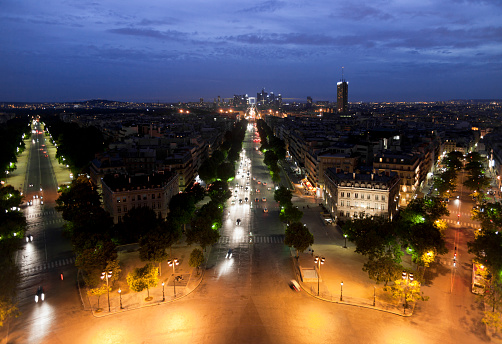 Boulevard「View from Arc de Triomphe at night, Paris, France」:スマホ壁紙(9)