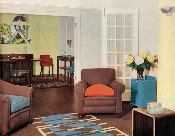 Dining Room「Dining-Room And Lounge In A Reconstructed London Apartment For Mrs Harry Ewbank At Bryanston Court Creator: Unknown」:写真・画像(17)[壁紙.com]