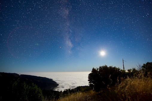 星空「Milky Way と月、Big Sur」:スマホ壁紙(13)