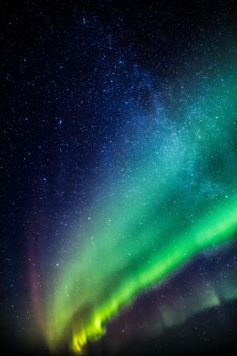 Starry sky「Milky Way and Aurora Borealis, Iceland」:スマホ壁紙(4)