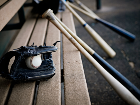 bat「Baseball glove with ball and bats in dugout」:スマホ壁紙(4)