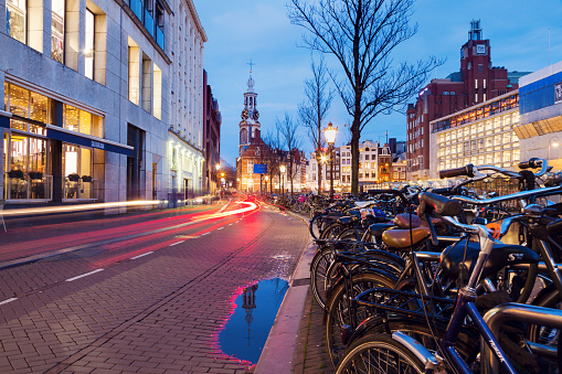 Amsterdam「Netherlands, Amsterdam, Bicycles next to street」:スマホ壁紙(9)
