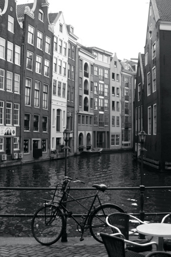 Amsterdam「Netherlands, Amsterdam, bicycle parked by canal (B&W)」:スマホ壁紙(18)