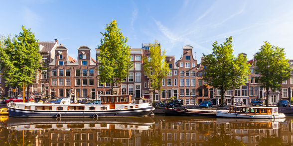 Amsterdam「Netherlands, Amsterdam, view to row of typical houses at Prinsengracht」:スマホ壁紙(1)