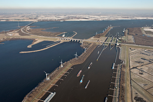 North Brabant「Netherlands, Willemstad, Volkerak Locks」:スマホ壁紙(9)
