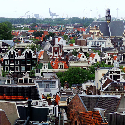 Amsterdam「Netherlands, Amsterdam, High angle view of old town」:スマホ壁紙(8)
