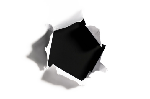 Black Color「Black hole in torn white paper」:スマホ壁紙(1)