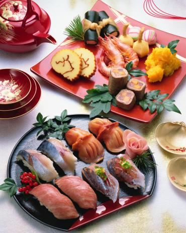 おせち「Japanese New Year Dishes and sushi」:スマホ壁紙(17)