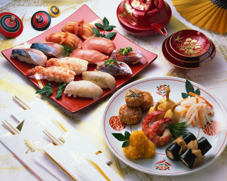 お正月「Japanese New Year Dishes and sushi」:スマホ壁紙(9)