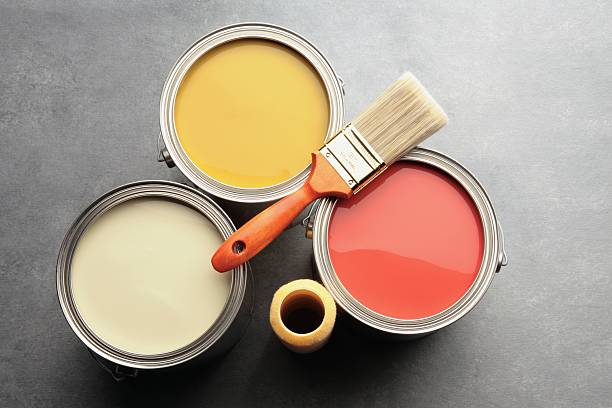 three paint cans with brush and roller:スマホ壁紙(壁紙.com)
