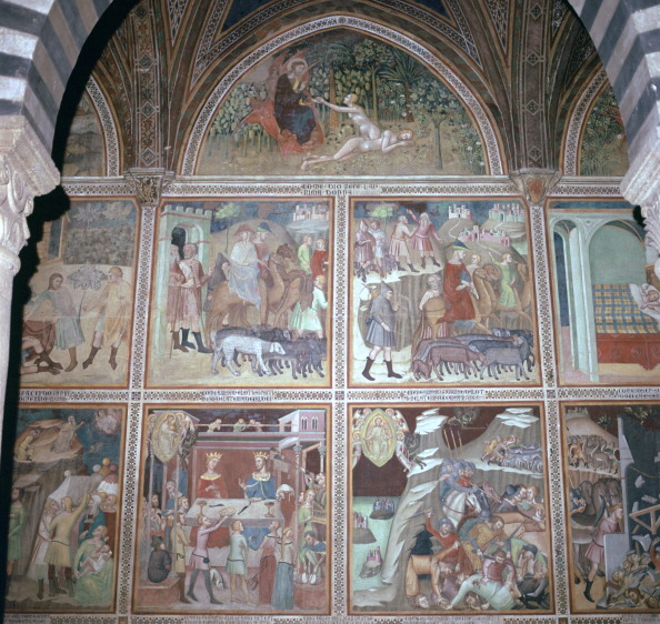 San Gimignano「Fresco of Eve and the story of Abraham, 14th century.」:写真・画像(4)[壁紙.com]