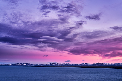 Part of a Series「Pink sunset, Oxarfjordur fjord, Iceland」:スマホ壁紙(13)