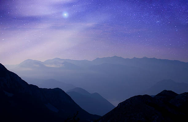 Mountains at night under milky way stars:スマホ壁紙(壁紙.com)
