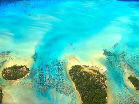 Palm tree「ポリネシアの熱帯の夏の楽園上: サンディ ターコイズ トロピカルなビーチ、ボラボラ、タヒチ motus、サンゴ礁空撮-牧歌的なフランス領ポリネシア」:スマホ壁紙(18)