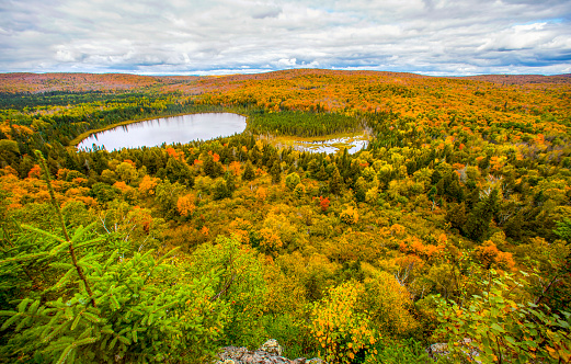 Great Lakes「View of forest and lake, Oberg Mountain hiking trail, Tofte, Minnesota, USA」:スマホ壁紙(12)