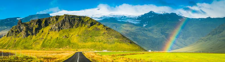 虹「国 道路 レインボーズグリーンパスチュアホワイトの山頂パノラマアイスランド」:スマホ壁紙(3)