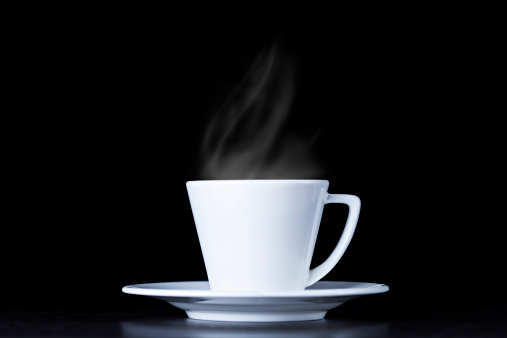 Coffee「White coffee cup and steam on black background」:スマホ壁紙(4)