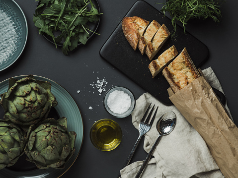 Place Setting「Food table setting with artichoke bread oils and salt」:スマホ壁紙(9)