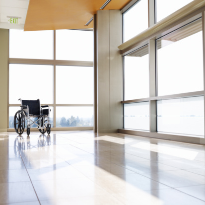 Accessibility for Persons with Disabilities「Wheelchair in empty hospital corridor」:スマホ壁紙(12)