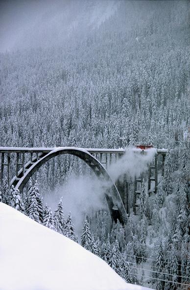 Arosa「Snowplough locomotive of Rhaetian railway crossing Langwieser viaduct,  Swiss Alps, Canton of Grisons, Switzerland」:写真・画像(7)[壁紙.com]
