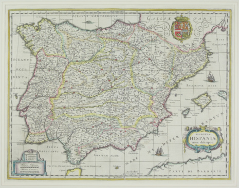 Latitude「Antique map of present day Spain and Portugal」:スマホ壁紙(1)