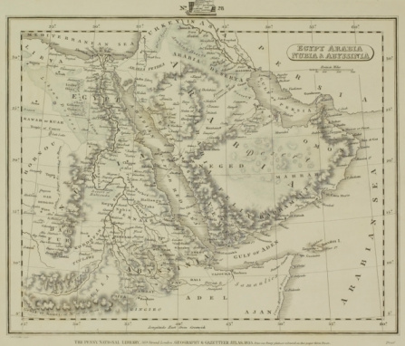 Latitude「Antique map of Middle East with Arabia , Egypt , Nubia , and Abyssinia」:スマホ壁紙(2)