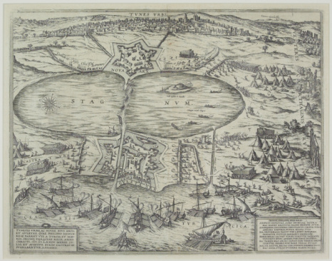 Surrounding「Antique map of town of Tunis during siege by Turks」:スマホ壁紙(9)