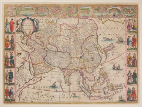 Latitude「Antique map of Asia with vignettes around border」:スマホ壁紙(16)