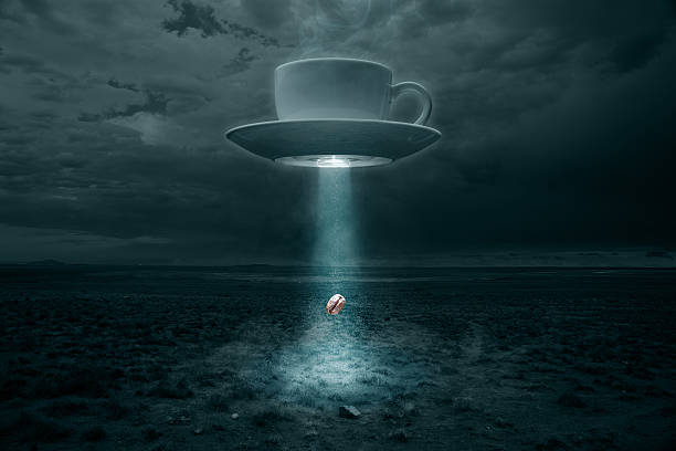 Flying Cup and Saucer Abducting a Coffee Bean:スマホ壁紙(壁紙.com)