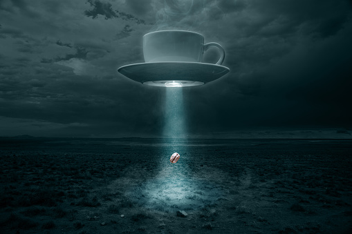 Coffee - Drink「Flying Cup and Saucer Abducting a Coffee Bean」:スマホ壁紙(0)