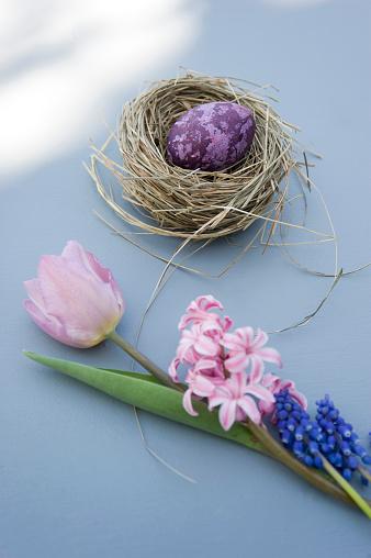 イースター「Easter decoration with nest, egg and spring flowers」:スマホ壁紙(18)