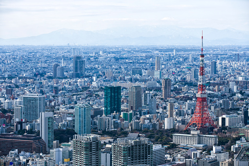 Tokyo - Japan「Tokyo Tower and skyscrapers.」:スマホ壁紙(18)