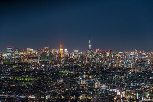 Tokyo - Japan「Tokyo Tower and Tokyo Sky Tree at night」:スマホ壁紙(6)