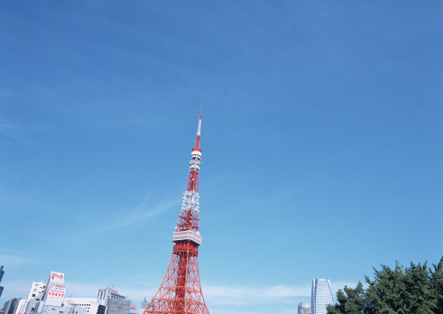 Tokyo Tower「Tokyo tower and blue sky」:スマホ壁紙(15)