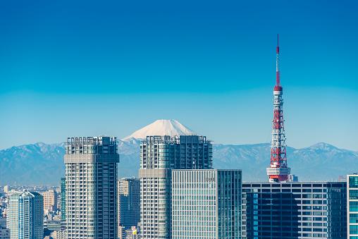 Tokyo Tower「Tokyo Tower and Mt.Fuji」:スマホ壁紙(18)