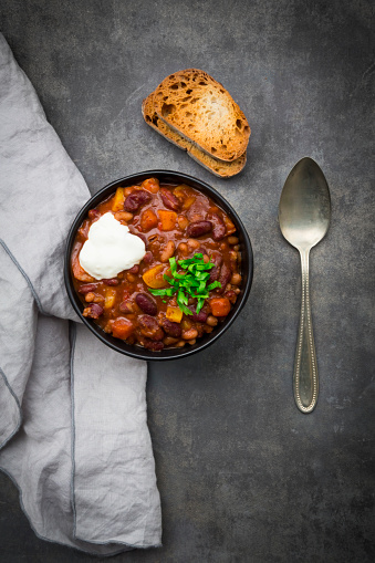 Chili Con Carne「Bowl of Chili con Carne with fresh coriander and sour cream」:スマホ壁紙(6)